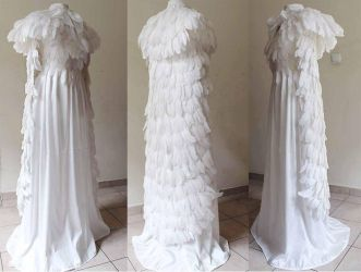 Gothic wedding long Feather cloak with pelerine by Pinkabsinthe