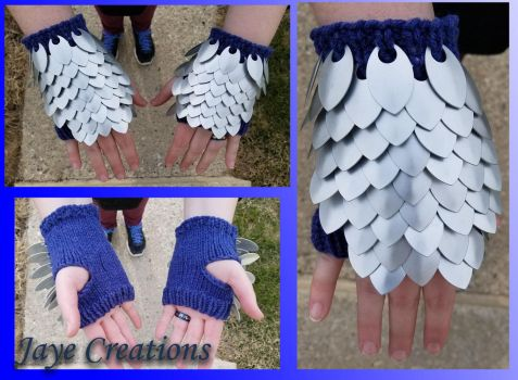 Frost on Denim Textured Blue Small Gauntlet Pair by WuffJaye