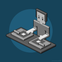 DJ Pixel - isometric character design by m7