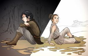 Teen Ben Solo and teen Rey by clefchan