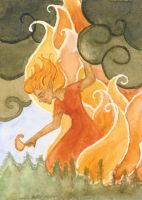 Forest Fire ACEO by metasilk