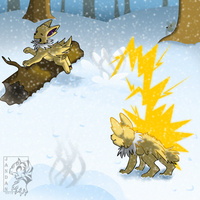 Jolteon Snowball Fight by Songficcer