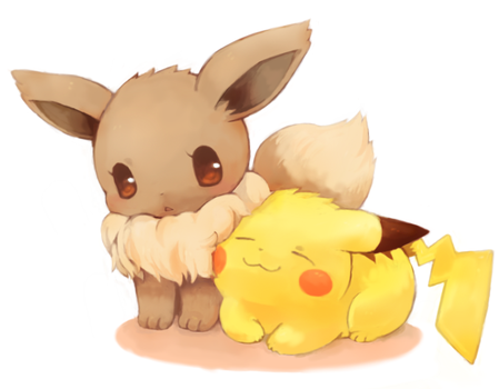 Pikachu and eevee by The-pink-Vodka