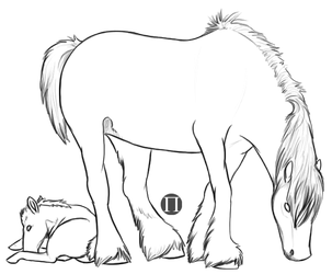 Draft Mare and Foal Lines by ShadowTimberwolf