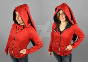 Red Moto Jacket Hoodie with Long Rabbit Ears by SewDesuNe