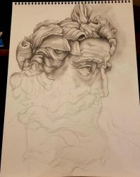 Neptune Sculpture Drawing!! Work in Progress.. by Halasaar01