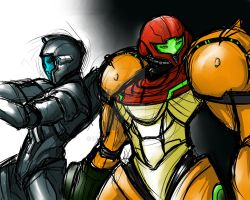 Aveon and Samus, scouting the premises. by Zuske
