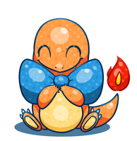 Charmander with a bow by Lemon-Heartss
