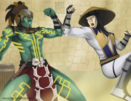 MKX Kotal Kahn vs Raiden by Grace-Zed