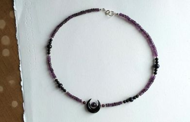 Black moon amethyst necklace by Kaos-Nest