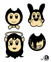 Bendy and the Ink Machine Chibi-Pop Heads (sepia) by hotcheeto89