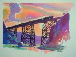 Otto Kuhler Railroad Art - High Bridge by PRR8157