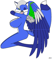 Sexy and Busty Winged Blue Vixen 1 by IndigoMystiere