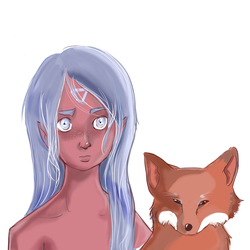 fox and girl 2 by Noodlecuppie