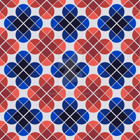 Geometric Pattern: Flower: Four Petal: Blue/Red by redwolfoz