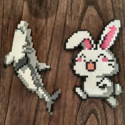 Shark and bunny perler sprites by Pika-Robo