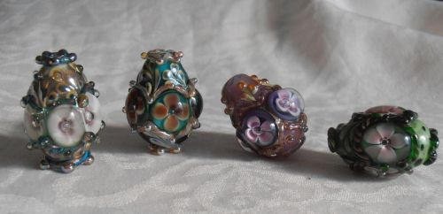 One year of lampworking -Faberge egg pendants by fairyfrog