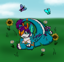 Fiona in Flowers_Line Art Swap with Chibipup by SolitaryGrayWolf