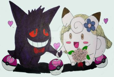 Shadow Gengar and Fairy Clefairy by InkArtWriter