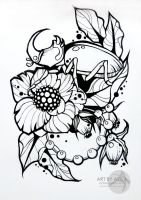 Tattoo sketch, neotraditional... by AsikaArt