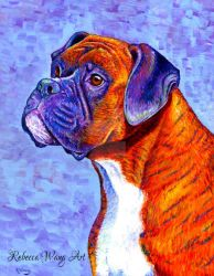 Colorful Brindle Boxer Dog by rebeccawangart