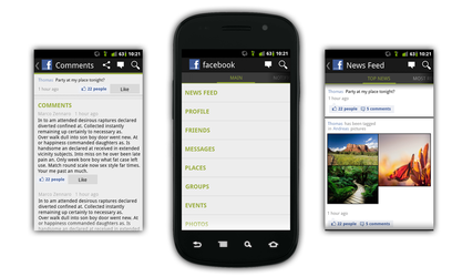 Android Facebook App - mockup by bluefisch200