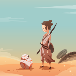 BB8 meets Rey by MrRedButcher