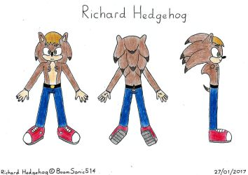 Richard Spiketail Hedgehog: Reference (Mobian) by BoomSonic514