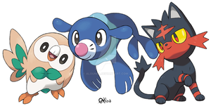 Starters Sun and Moon by AlouNea