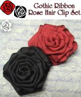 Gothic Ribbon Rose HairclipSet by UnluckyPrincess