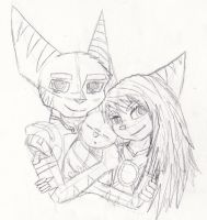 - Baby Ratchet with Parents Sketch - by sonicwindartist