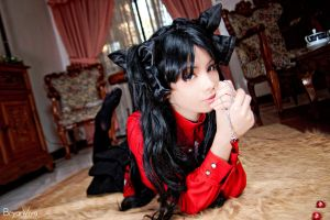Tohsaka Rin - just laying in the living room by katsu-05