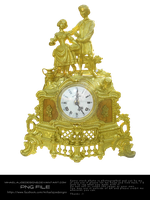 Golden Clock with Statues by MihaelaJoeDesigns