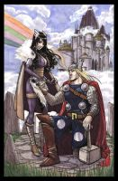 Thor Loves Sif marker drawing by RenaeDeLiz