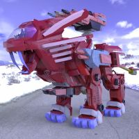 Robot Lion in the Snow by VanishingPointInc