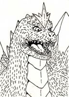 SpaceGodzilla B and W Sketch by jamsketchbook
