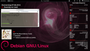Debian GNU/Linux with Gnome3 and Conky 2012-06-06 by mdosch