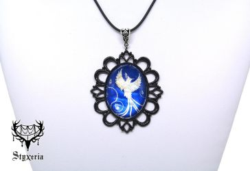 Holographic Phoenix blue Cameo Pendant by Styxeria