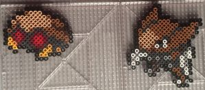 #140-#141 Kabuto and Kabutops Perlers by TehMorrison