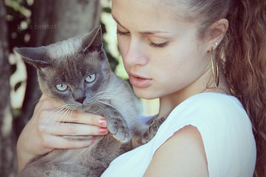 girl and her cat by thais-fb