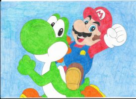 Mario and Yoshi by Krisztian1989