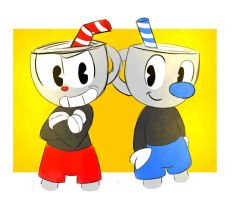 cuphead and mugman by kary22