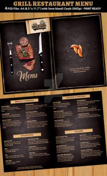 Grill Restaurant Menu template by Hotpindesigns