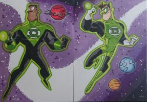 GREEN LANTERNS sketch card by tyrannus