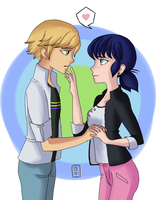 Adrien and Marinette by kakaowl