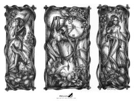Ink Triptych by MeLain