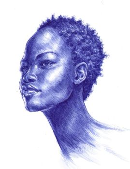 Blue Ballpoint Pen Portrait by Carliihde