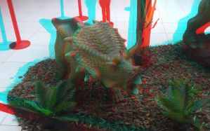 Dinosaur in 3D anaglyph by xmancyclops