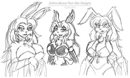 Anthro-Bunny Porn Star Sketches by VioletVixenPro
