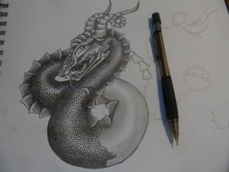 Snake Dragon (WIP 4) by Quinnquelyn